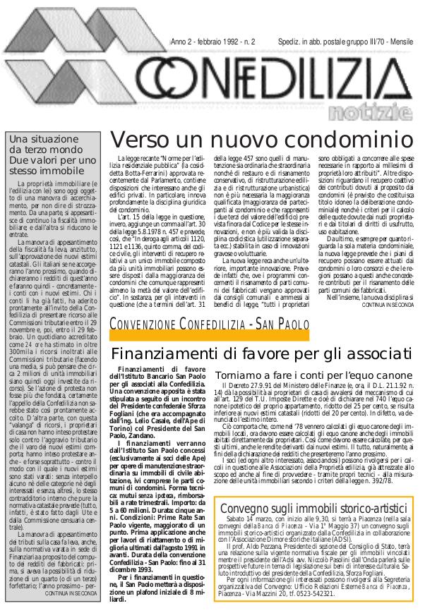 Confedilizia Notizie – Febbraio 1992