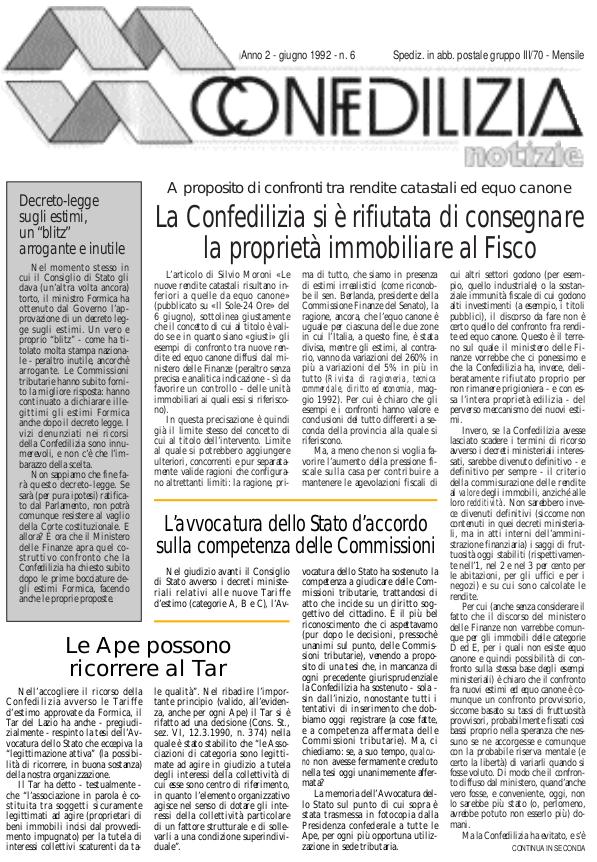 Confedilizia Notizie – Giugno 1992