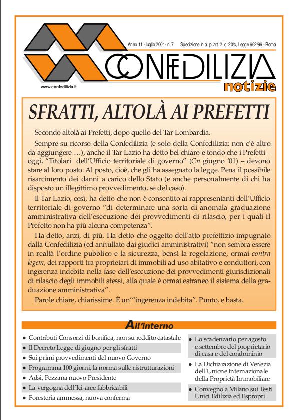 Confedilizia notizie – Luglio 2001