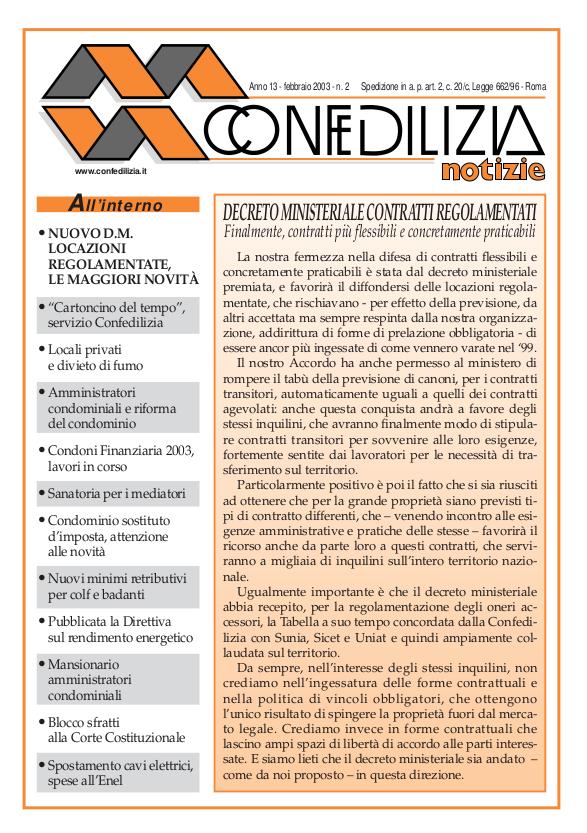 Confedilizia notizie – Febbraio 2003
