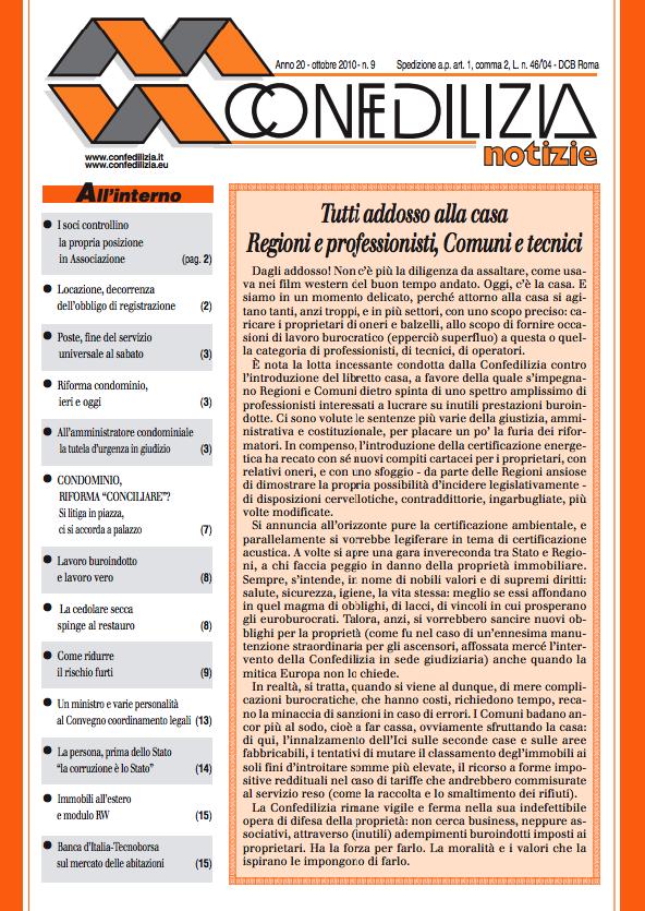 Confedilizia notizie – Ottobre 2010
