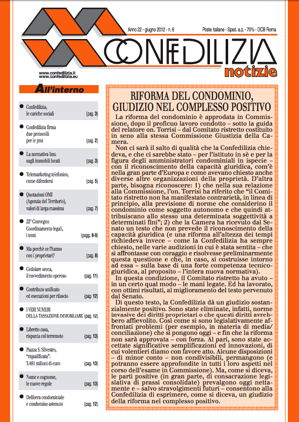Confedilizia notizie – Giugno 2012
