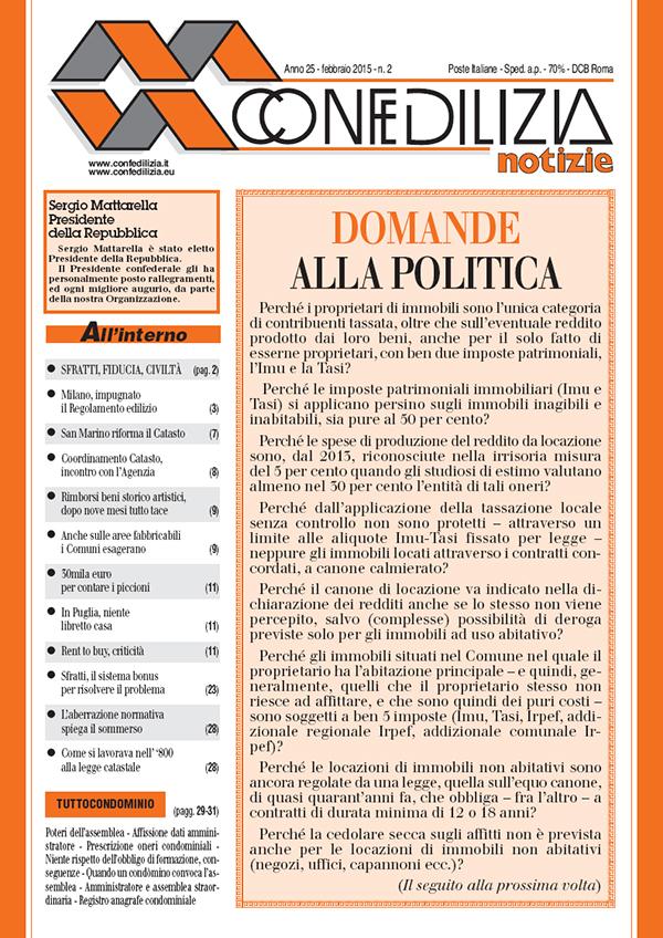 Confedilizia notizie – Febbraio 2015