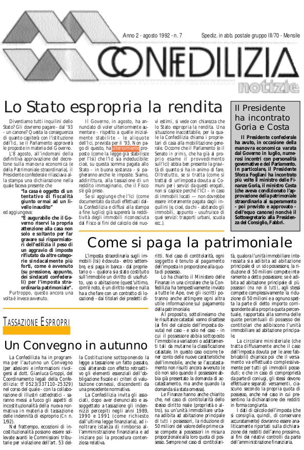 Confedilizia Notizie – Agosto 1992