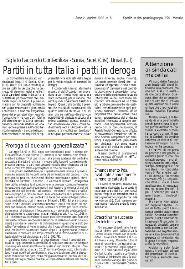 Confedilizia notizie – Ottobre 1992