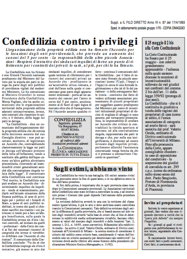 Confedilizia Notizie – Aprile 1993