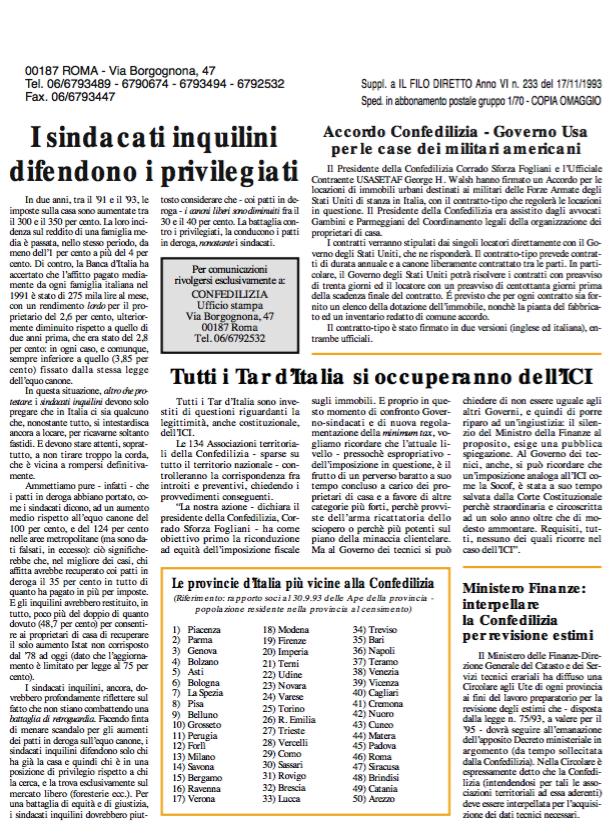 Confedilizia Notizie – Novembre 1993