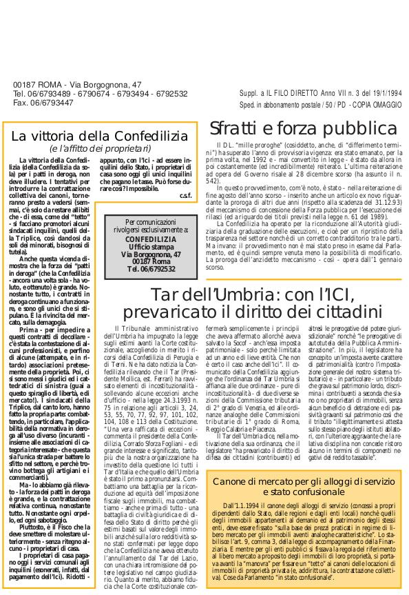 Confedilizia notizie – Gennaio 1994