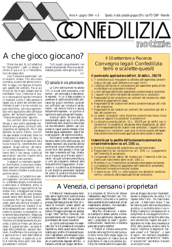 Confedilizia notizie – Giugno 1994