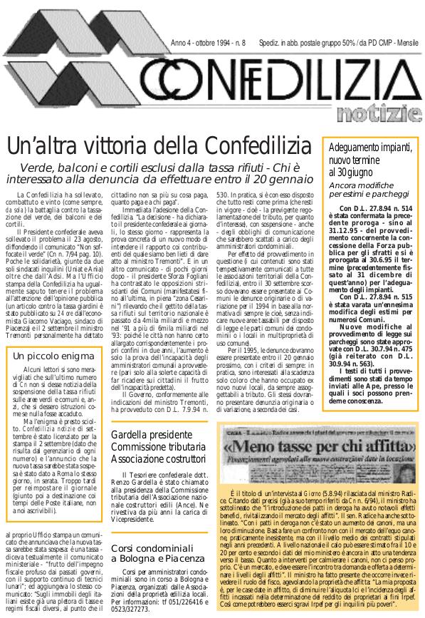 Confedilizia notizie – Ottobre 1994