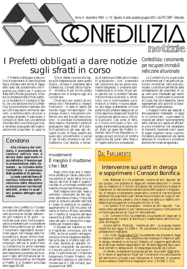 Confedilizia notizie – Dicembre 1994