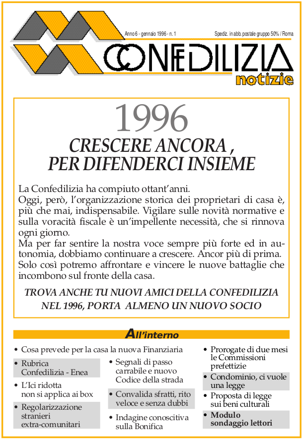 Confedilizia notizie – Gennaio 1996