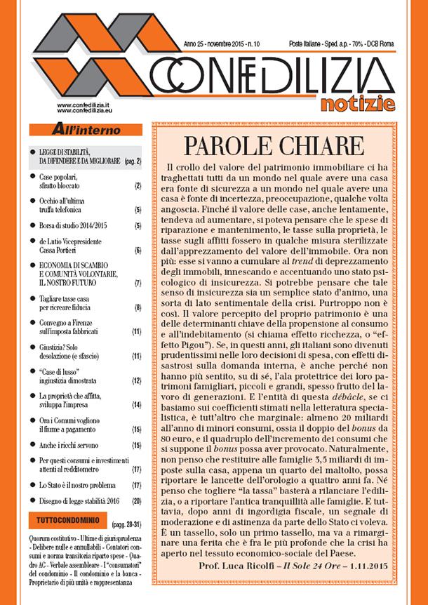 Confedilizia notizie – Novembre 2015