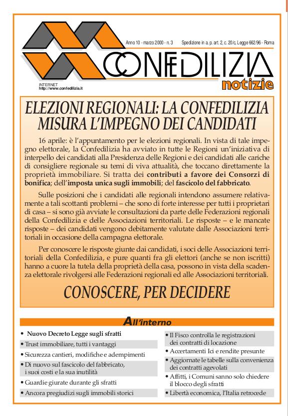 Confedilizia notizie – Marzo 2000