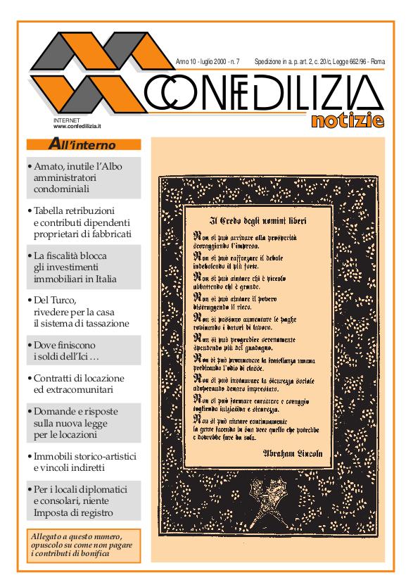 Confedilizia notizie – Luglio 2000