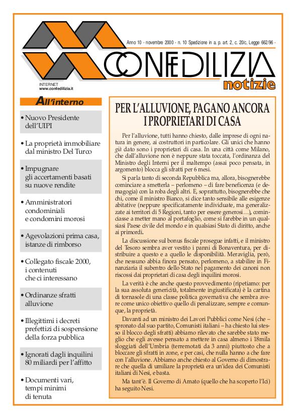 Confedilizia notizie – Novembre 2000