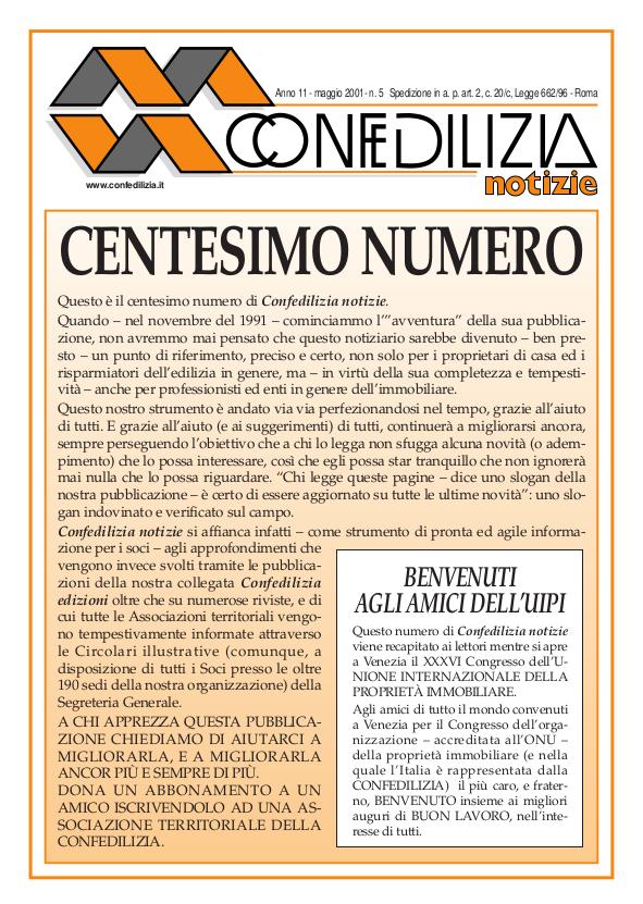 Confedilizia notizie – Maggio 2001