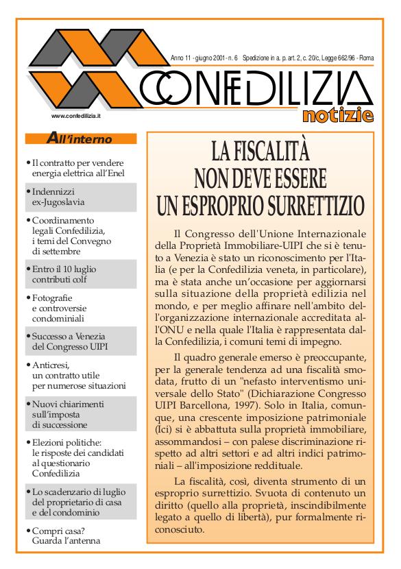 Confedilizia notizie – Giugno 2001