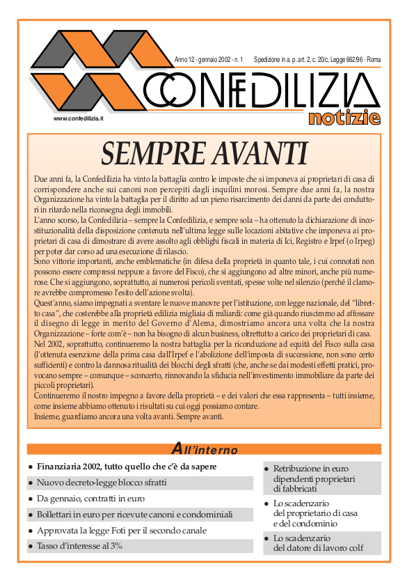 Confedilizia notizie – Gennaio 2002