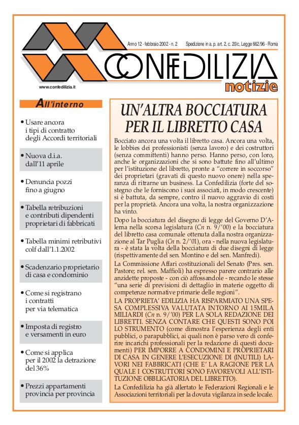 Confedilizia notizie – Febbraio 2002