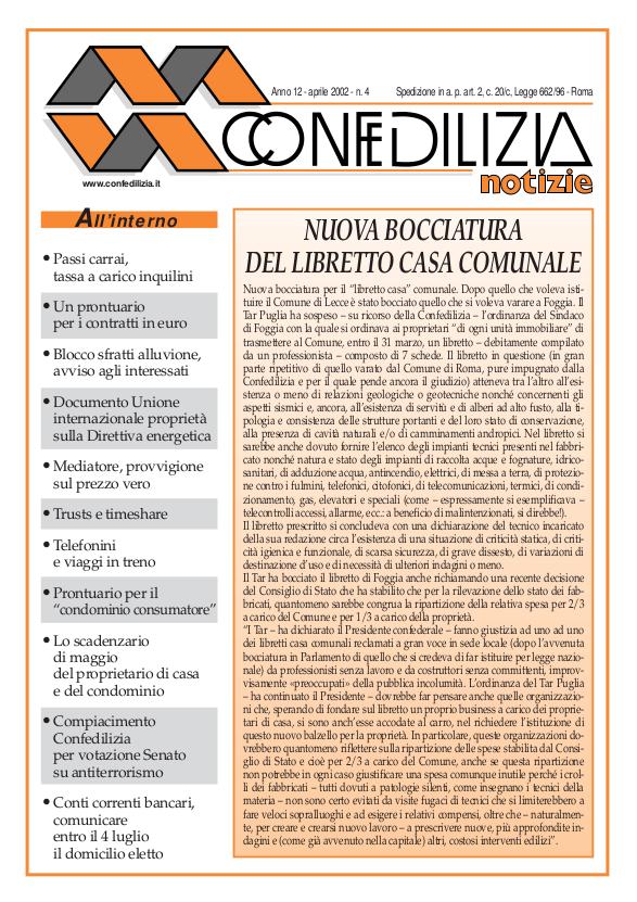 Confedilizia notizie – Aprile 2002