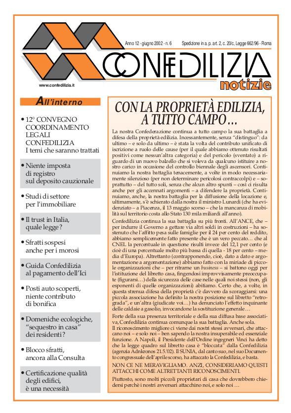Confedilizia notizie – Giugno 2002