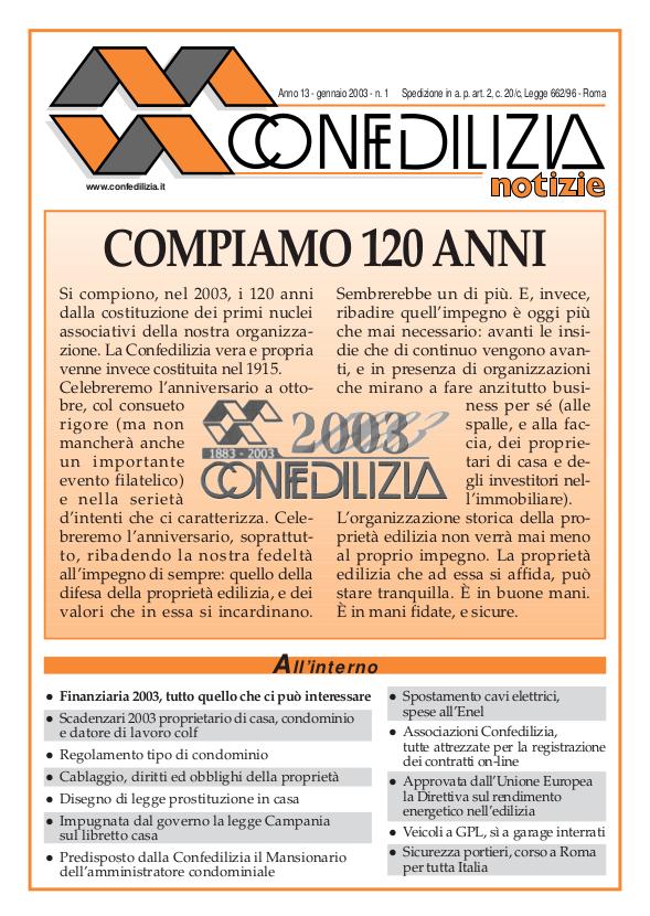 Confedilizia notizie – Gennaio 2003