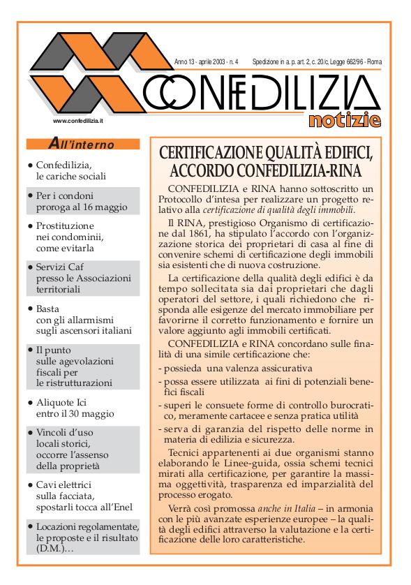Confedilizia notizie – Aprile 2003
