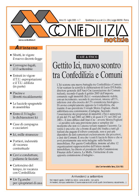 Confedilizia notizie – Luglio 2003