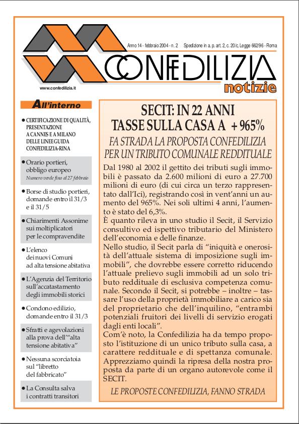 Confedilizia notizie – Febbraio 2004