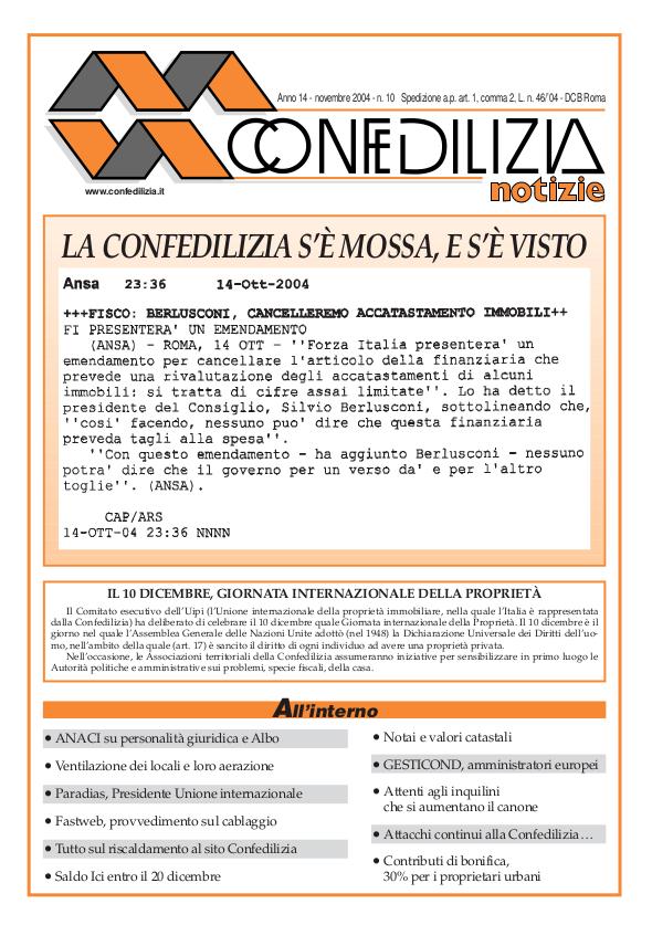 Confedilizia notizie – Novembre 2004
