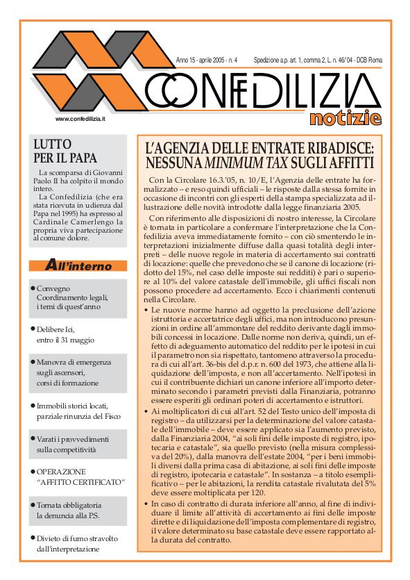 Confedilizia notizie – Aprile 2005