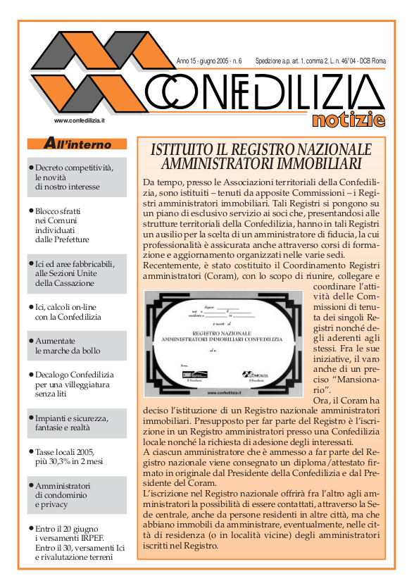 Confedilizia notizie – Giugno 2005