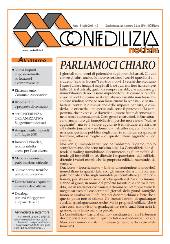 Confedilizia notizie – Luglio 2005