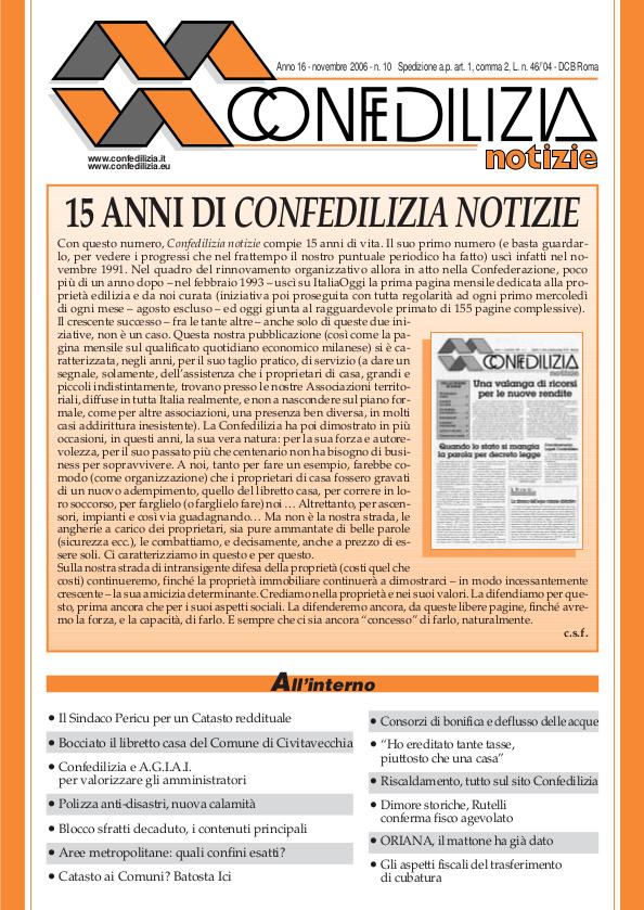 Confedilizia notizie – Novembre 2006