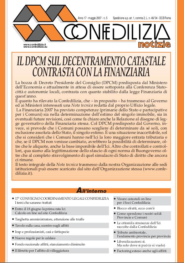 Confedilizia notizie – Maggio 2007