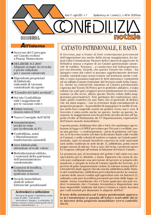 Confedilizia notizie – Luglio 2007