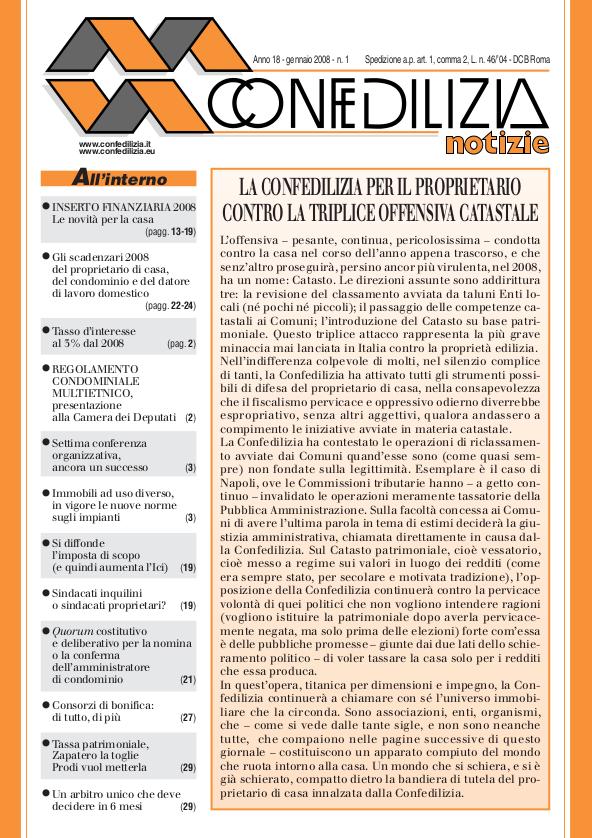 Confedilizia notizie – Gennaio 2008