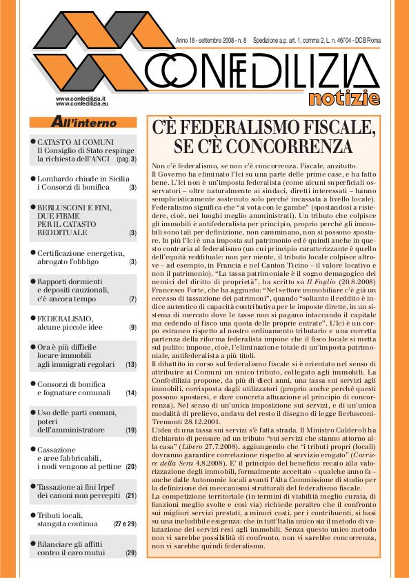 Confedilizia notizie – Settembre 2008