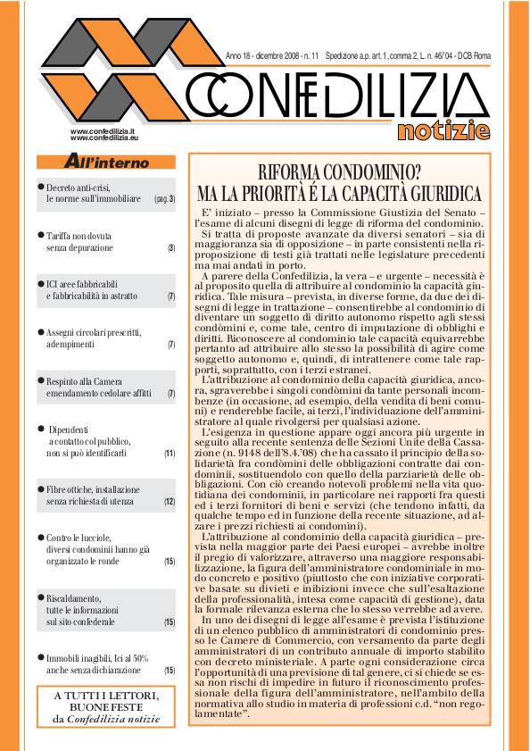Confedilizia notizie – Dicembre 2008