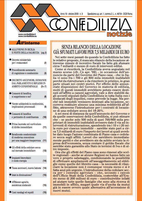 Confedilizia notizie – Ottobre 2009