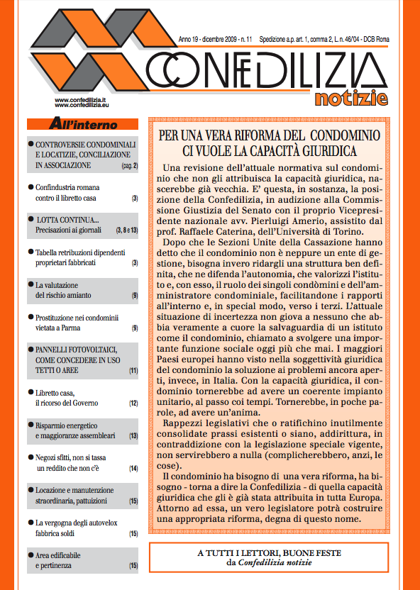 Confedilizia notizie – Dicembre 2009