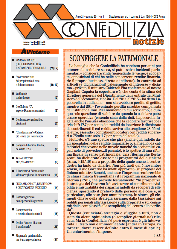 Confedilizia notizie – Gennaio 2011