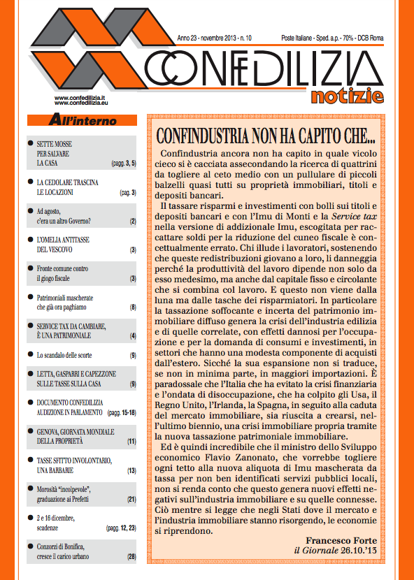 Confedilizia notizie – Novembre 2013