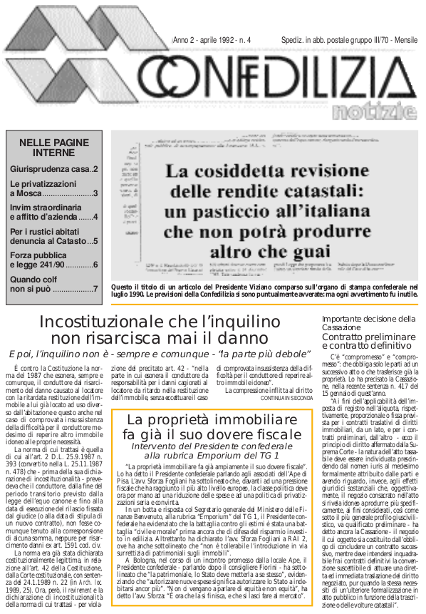 Confedilizia Notizie – Aprile 1992