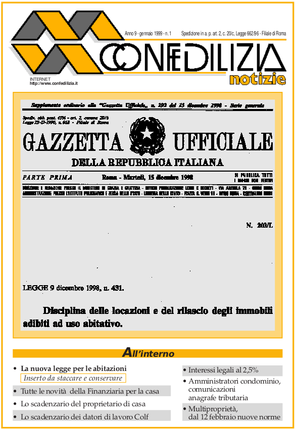 Confedilizia notizie – Gennaio 1999
