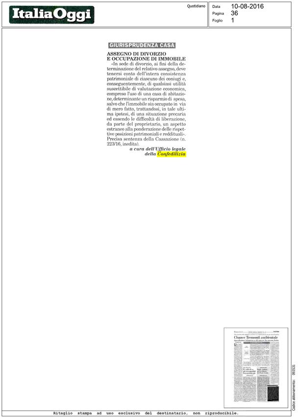 Italia oggi 10 assegno di divorzio e occupazione di immobile confedilizia - Calcolo indennita di occupazione immobile ...