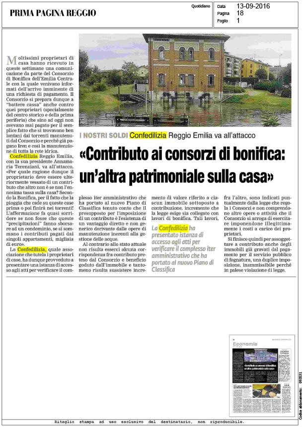 Prima pagina reggio 13 contributo ai consorzi di bonifica un 39 altra patrimoniale - Patrimoniale sulla casa ...
