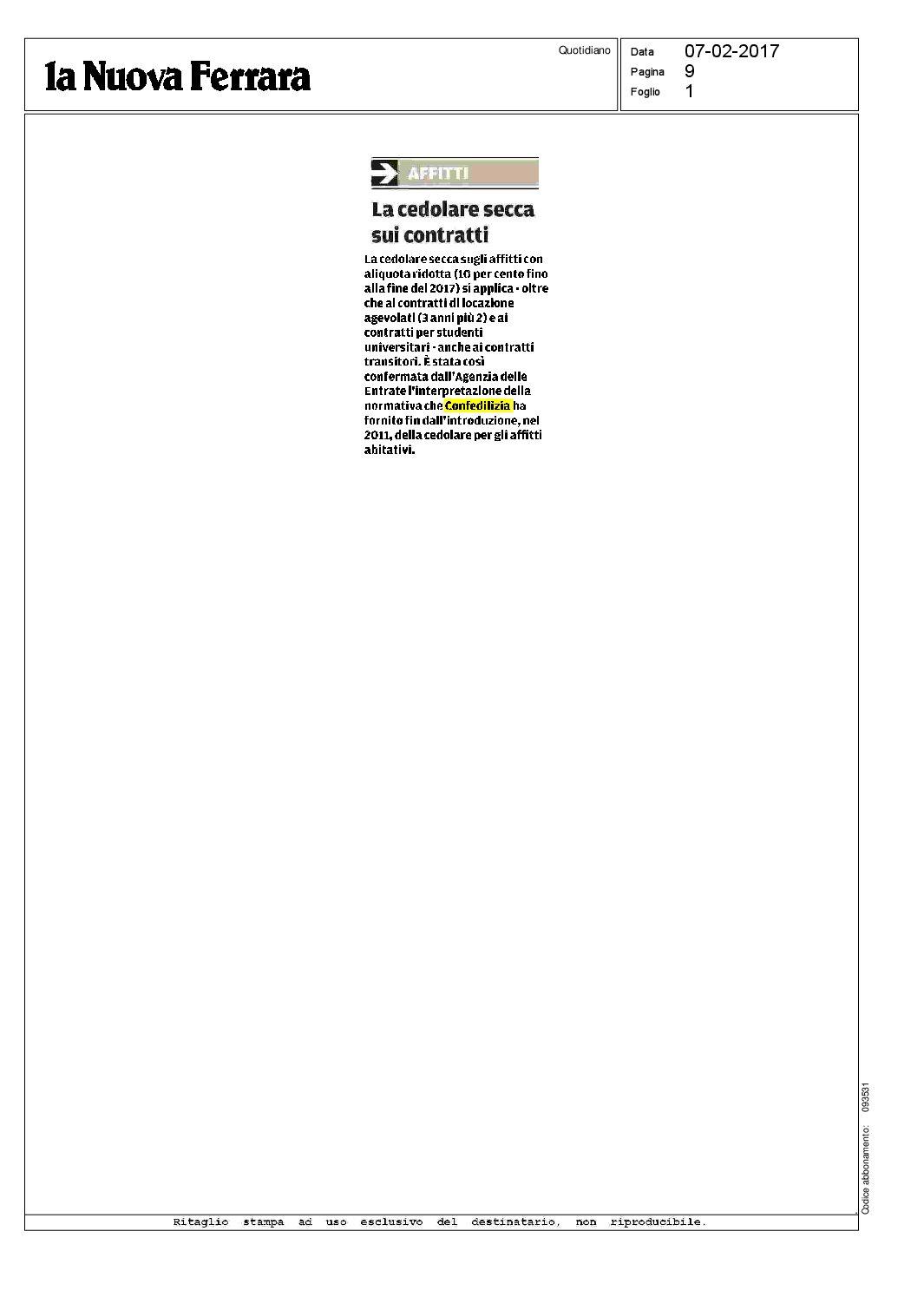 La nuova ferrara 7 la cedolare secca sui for Acconto cedolare secca 2017