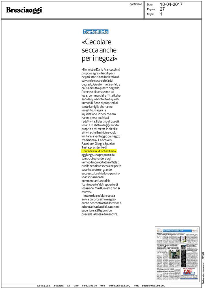 Bresciaoggi 18 cedolare secca anche per i for Acconto cedolare secca 2017